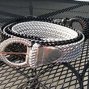 Chunky 80's/ 90's belts black & silver